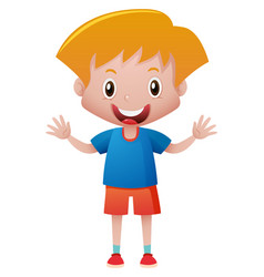 little boy in blue shirt vector image