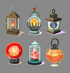 magic lantern set fantasy lamp collection game vector image
