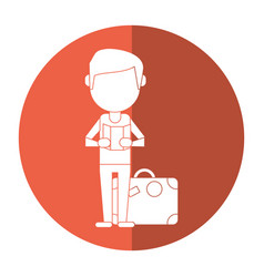 man with travel bag and map shadow vector image