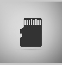 Micro sd memory card icon on grey background vector