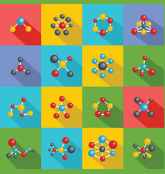 molecular structure chemical icons set flat style vector image