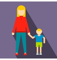Mother and son flat icon vector image