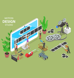 motion design studio isometric flat concept vector image