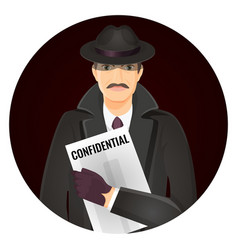 Mysterious private detective with confidential vector