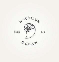Nautilus seashell minimalist line art badge logo vector