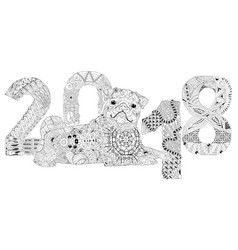 Number 2018 zentangle with dog decorative object vector