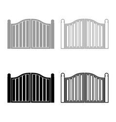 Old gate icon set grey black color vector