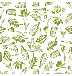 Olives branches and olive oil seamless wallpaper vector