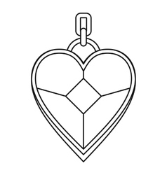 Pendant in the shape of heart icon outline style vector