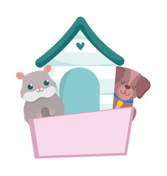pet shop little dog hamster wooden house animal vector image