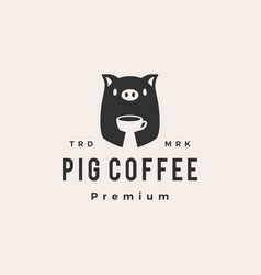 pig coffee hipster vintage logo icon vector image