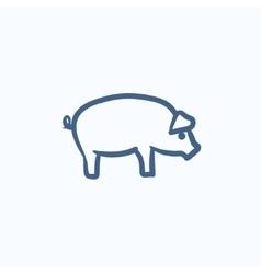 Pig sketch icon vector
