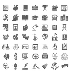 Plain School Icons Monochrome Silhouettes vector