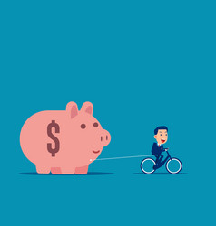 riding and pulling piggy bank business budget vector image