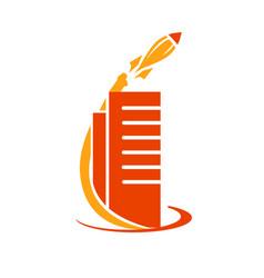 rocket with building icon vector image