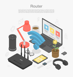 Router modem concept background isometric style vector