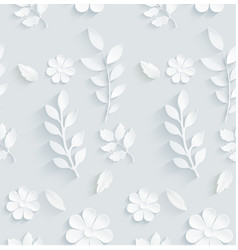 seamless pattern daisy with leaves on gray backgro vector image