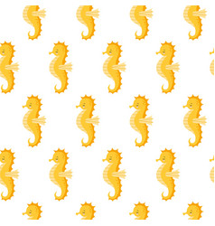 seamless pattern with cute yellow sea horse on vector image
