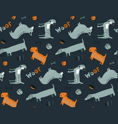 seamless pattern with dog animals dachshund vector image