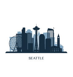 Seattle skyline monochrome silhouette vector