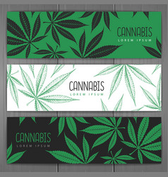 Set banners with cannabis leaves vector