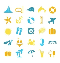 set of colored icons for summer vector image