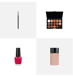 set of cosmetics realistic symbols with nail vector image
