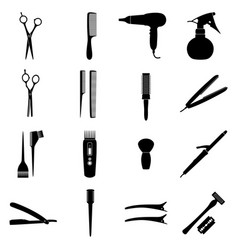 Set of icons of hairdresser tools vector