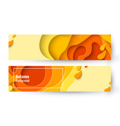 set two autumn sale yellow layout banners vector image