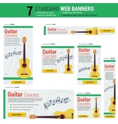 Seven web banners - Guitar Courses vector image