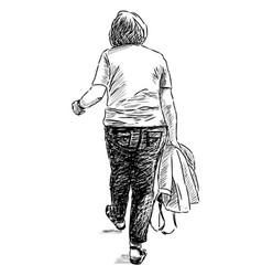 Sketch an elderly woman going for a stroll vector