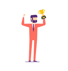 successful businessman celebrating with prize vector image