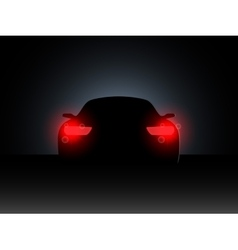 The car in the dark with the included headlights vector