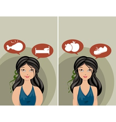 thick and slim women vector image