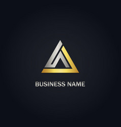 triangle gold business logo vector image