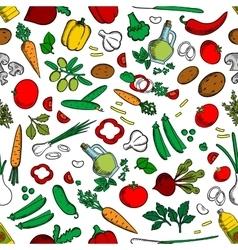 Vegetable ingredients seamless background vector image