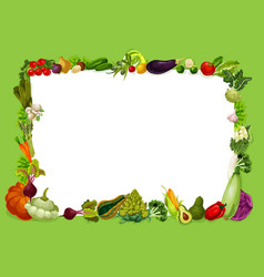 Veggies frame vegetable and grocery shop food vector