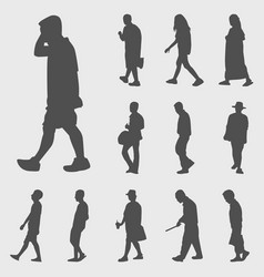 walk silhouettes set vector image vector image
