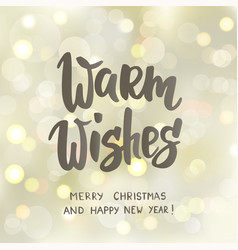 warm wishes text hand drawn letters holiday vector image
