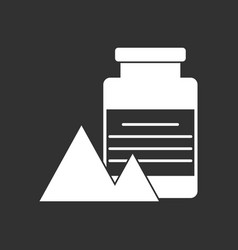 White icon on black background jar and pyramids vector