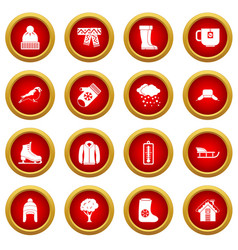 Winter icon red circle set vector