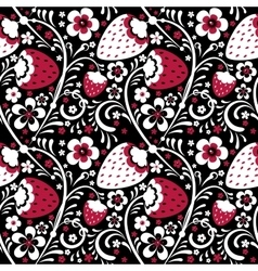 Winter strawberry pattern in Khokhloma style vector image