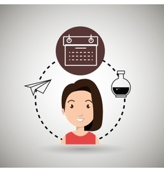 woman calendar and lab tube isolated icon design vector image