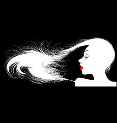 womans profile silhouette vector image