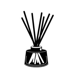 Wooden aroma sticks in glass jar glyph icon vector