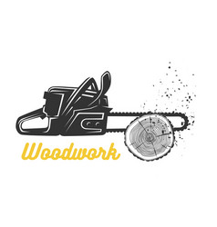 Woodworking chainsaw logo template vector