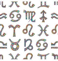 Zodiac signs seamless pattern horoscope magic vector