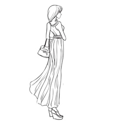 Beautiful girl in long elegant dress vector image vector image