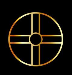 Golden southern cult solar cross symbol vector image