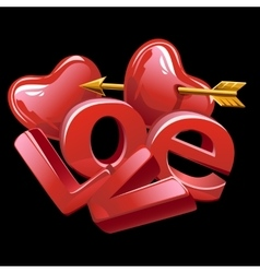 Large letters of love red heart and golden arrow vector image